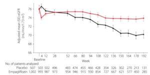 ジャディアンス投与時のアジア人の経時的なGFRの低下