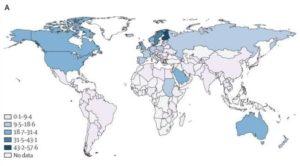 世界の1型糖尿病の発症率