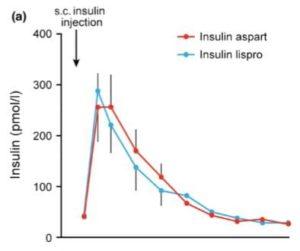 インスリンアスパルトとインスリンリスプロの皮下注射後の血中濃度の比較