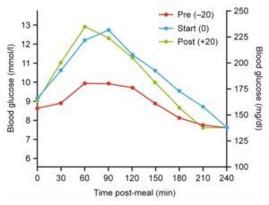 超速効型インスリンの投与タイミングによる食後高血糖の違い