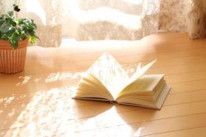 光の差し込む部屋で花粉症対策の本を読む